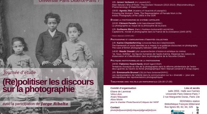 Journée d'étude (Re)politiser les discours sur la photographie (archives)